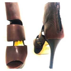 Dark Brown open toe boots .. Leather